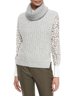 Sleeveless Knit Turtleneck Vest & Classic Lace Button-Down Blouse
