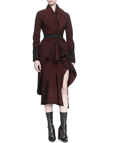 Tweed Tail-Back Belted Coat & Waterfall Ruffled Skirt