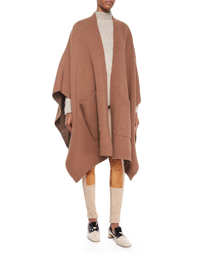 Wool Cape with Pockets, Alpaca Peplum Turtleneck Sweater & Stretch Twill Jodhpur Leggings