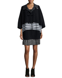Wool-Blend Blanket Striped Cape & Geometric Jacquard Pleated Skirt