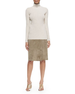 Ribbed Turtleneck Sweater & Portabello Faux-Wrap Suede Skirt