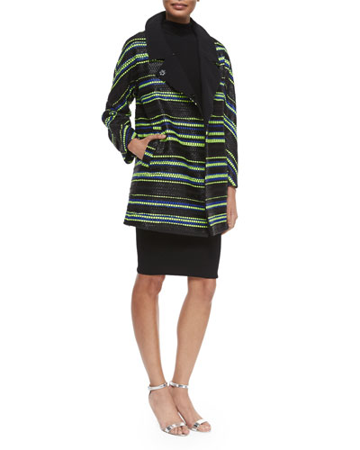 Eldridge Couture Stripe Coat & Sleeveless Turtleneck Sheath Dress