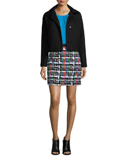 Honeycomb Tech Jacket, Silk Crepe Pleated Tank & Couture Tweed Zip-Back Skirt