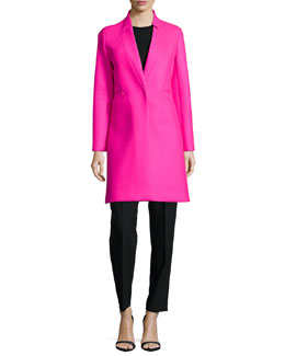Melton Bonded Slim Coat, Angled-Seam Knit Merino Shell & Paperbag Belted Trousers