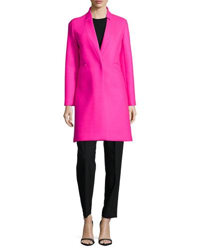 Melton Bonded Slim Coat, Angled-Seam Knit Merino Shell & Paperbag Belted Trousers