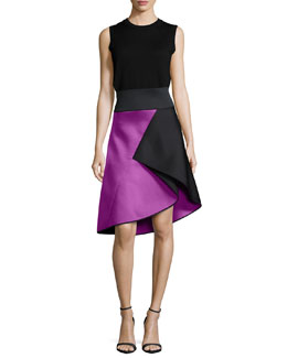 Angled-Seam Knit Merino Shell & Peau De Soie Bonded Flare Skirt