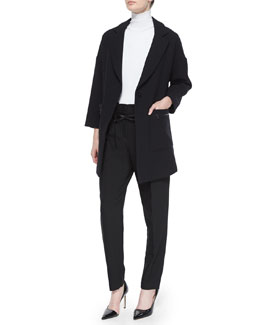 Nikki Single-Button Wool-Blend Coat, Stretch Turtleneck Shell & Paperbag Belted Trousers