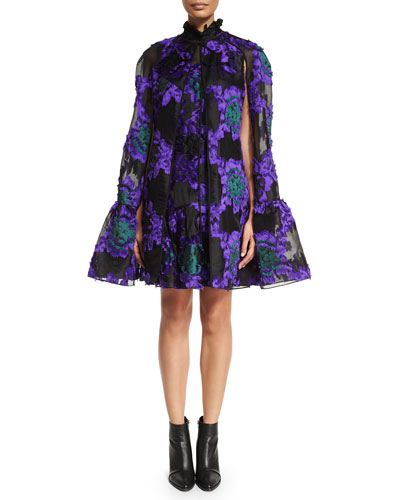 Angela Fil Coupe Flounce-Hem Cape & Nisette Flounce-Hem Trapeze Dress