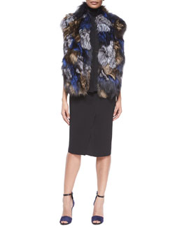 Patchwork Fox Fur Vest, Laser-Cut Sleeveless Turtleneck Top & Bonded Laser-Cut Pencil Skirt