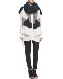 Colorblock Rabbit Fur Vest, Speckled Cotton-Blend Knit Scarf & Leather-Piped Slim-Fit Trousers
