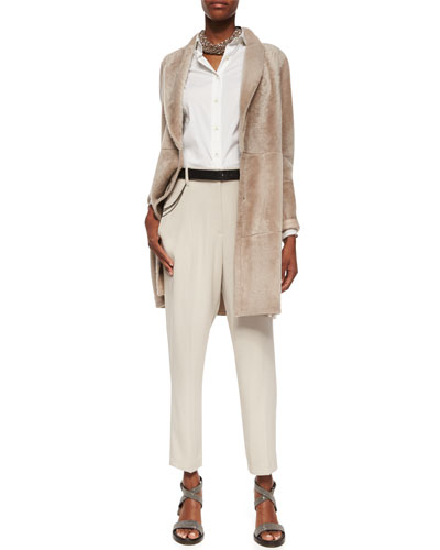 Shearling Fur Shawl-Collar Car Coat, Poplin Button-Down Blouse w/ Silk Sleeves, Wool-Crepe Non-Pleated Trousers & Accessories