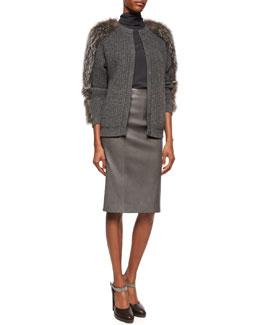 Fur-Trimmed Cashmere Ribbed Cardigan, Matte Silk Turtleneck Top & Seamed Leather Pencil Skirt