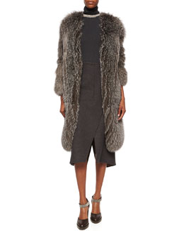 Fox Fur Cashmere-Knit Long Coat, Sleeveless Turtleneck Jersey Top, Necklace & Wool-Cashmere Faux-Wrap Skirt