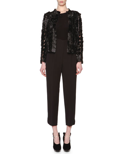 Check Patchwork Calf Hair Jacket & High-Waisted Pleated Slit-Cuff Pants