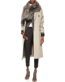 Wool-Cashmere Double-Breasted Coat, Tweed Blazer with Monili Cuffs, Silver Fox Monili-Beaded Wrap Scarf, Matte Silk Turtleneck Top & Curved Seamed Riding Pants