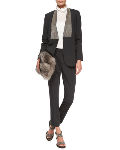Monili Beaded Wool Blazer, Matte Silk Turtleneck Top, Silver Fox Fur Clutch Bag & Pleated Crepe Cropped Pants