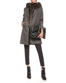 Wool-Cashmere Button Coat, Hooded Fox Fur Vest, Sleeveless Turtleneck Jersey Top, Tropical Wool Ankle Pants & Monili Beaded Leather Messenger Bag