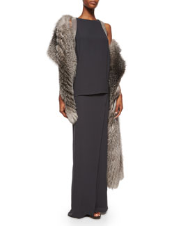Monili Beaded Layered Crepe Gown & Silver Fox Fur/Cashmere Shawl