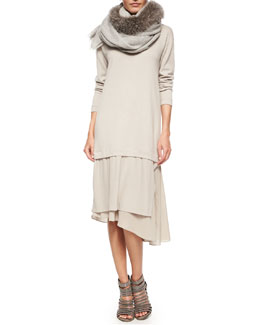 Cashmere Knit Asymmetric-Skirt Combo Dress & Fox Fur-Trimmed Cashmere Scarf