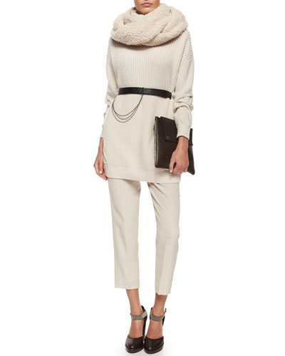 Silk-Back Cashmere Combo Sweater, Pleated Crepe Cropped Pants, Leather Belt w/ Chain Detail, Cashmere-Blend Boucle Knit Scarf & Monili Trimmed Leather Clutch Bag