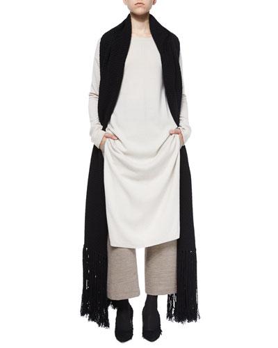 Long Cashmere Tunic, Cropped Wide-Leg Dress Pants & Cashmere-Wool Long Scarf