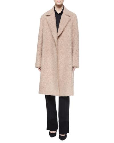Shaggy Tie-Waist Coat, Short-Sleeve Jersey Polo Top & Stretch-Knit Combo Pants