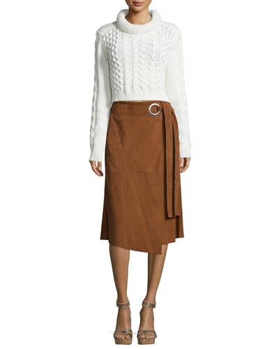 High-Low Loose Sweater & Suede Wrap Skirt