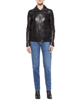 Leather Pocket-Detail Zip Jacket, Split-Neck Cotton Tee & Lightly Distressed Relaxed Jeans