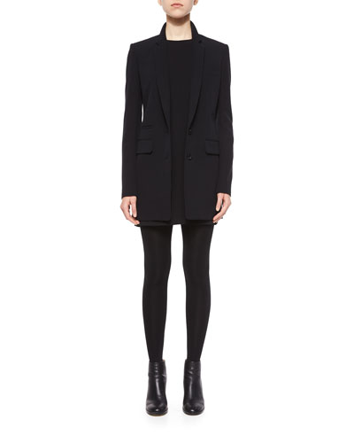 Pocket-Detailed Long Blazer & Long-Sleeve Tunic Dress