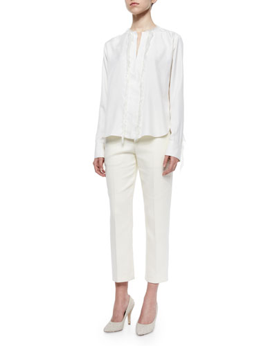 Silk Fringe-Trimmed Blouse & Cropped Button-Tab Twill Pants