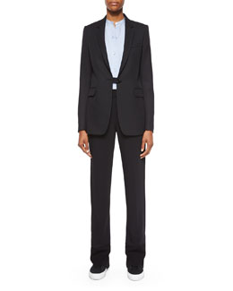Wool Button-Tab Long Blazer, Matte Silk Twill Button-Up Blouse & Stretch-Knit Combo Pants