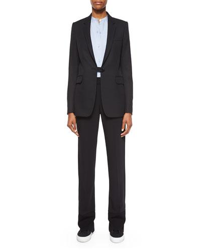 Wool Button-Tab Long Blazer, Matte Silk Twill Button-Up Blouse & Stretch-Knit Combo Pants