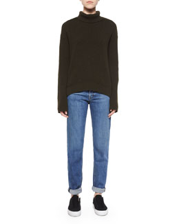 Cashmere-Wool Turtleneck Sweater & Lightly Distressed Relaxed Jeans