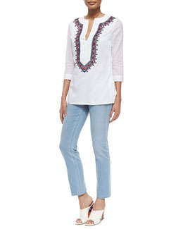 3/4-Sleeve Embroidered Cotton Tunic & Cropped Straight-Leg Jeans