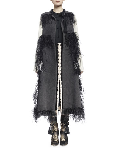 Woven Feather-Trimmed Tassel Vest, Contrast Bib Peplum Blouse & Fringe Seamed Midi Skirt