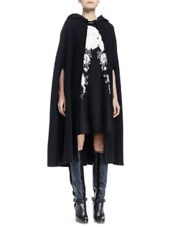 Wool-Blend Hooded Cape & Jewel-Neck Sleeveless Embellished Dress