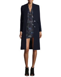 Aster Long Wool-Blend Coat & Ariana Silk Tie-Front Dress