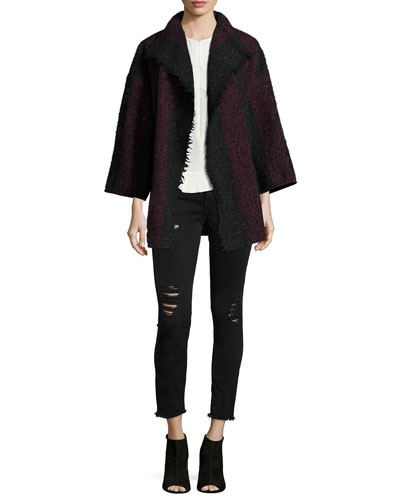 Beverly Striped Knit Jacket, Diamant Sleeveless Zip-Front Top & Jarod Distressed Jeans