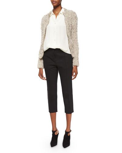 Kald Lamb Shearling Fur Zip Jacket, Bonnie Button-Down Blouse & Amaele Cropped Wool Pants