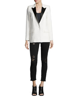 Badler Two-Tone Tuxedo Jacket, Sais Ribbed Knit Tank & Jarod Distressed Denim Jeans