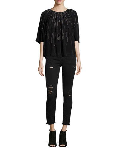 Barley Sequin-Embellished Top & Jarod Distressed Denim Jeans