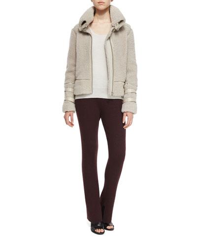 Kerry Lamb Shearling Fur Jacket, Sevigny Ribbed Arched-Hem Sweater & Shipp Ribbed Knit Flare Pants