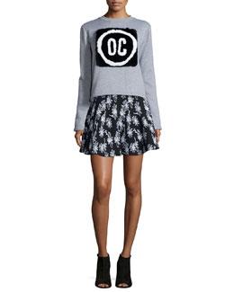 OC Rabbit Fur Pullover Sweatshirt & Daisy Floral-Print Flare Skirt