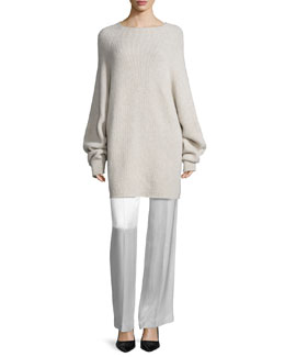 Kandel Oversize Cashmere Sweater & Misa Satin Wide-Leg Pants