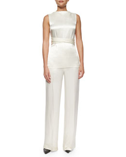 Tolly Satin Tie-Waist Top & Misa Satin Wide-Leg Pants