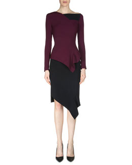 Achra Asymmetric Peplum Top & Tafan Asymmetric Pencil Skirt