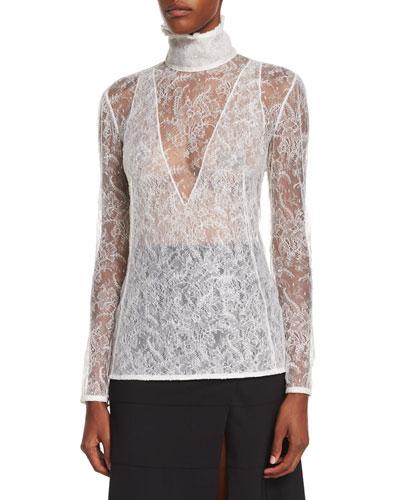 Gray Fox-Fur Collar Crop Jacket, High-Neck Sheer Lace Blouse & Paneled Ruffle-Hem Slit Midi Skirt