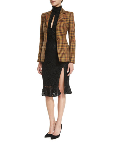 Acacia Plaid Twill Blazer & High-Neck Slit-Front Lace Dress
