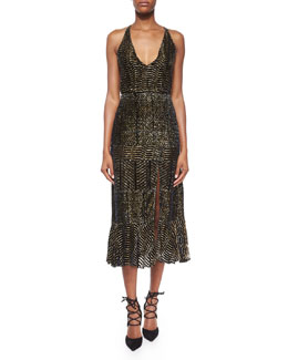 Velvet Metallic Devore Top & Paneled Velvet Metallic Devore Slit Midi Skirt