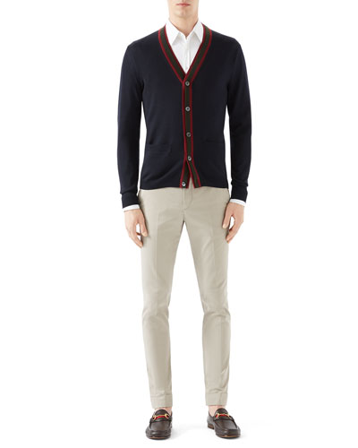 Navy Cardigan w/ Double Layer Green/Red/Green Web Detail & Tan Riding Pants w/ Side Web Detail